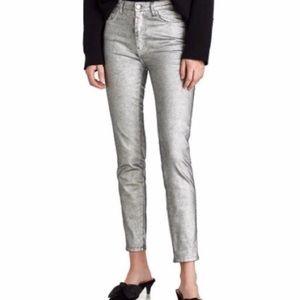 Zara NWT Trafulac Silver Skinny Jeans Size 4